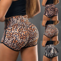 Women Ladeis Leopard High Waist Yoga Shorts Push Up Sports Gym Workout Hot Pants