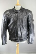 FRANK THOMAS BLACK LEATHER BIKER JACKET WITH PROTECTORS & THERMAL LINING 46IN/XL