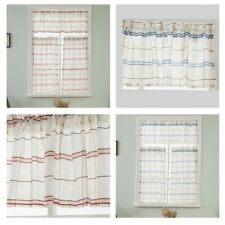 Checked Print Tier Voile Valance Window Half Sheer Curtains Cafe Home Decor