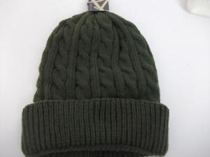 ACCESSORIES Unisex Cable Beanie Hat Dark Green   B57