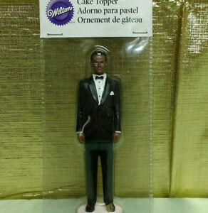 Funny Wedding Cake Topper Bride and Runaway Groom African American Black Wilton