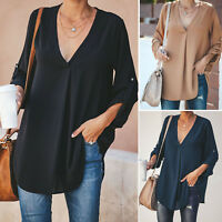 Plus Size Women V Neck Shirts Blouse Long Sleeve Casual Loose Solid T-Shirt Top
