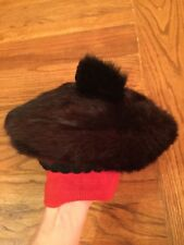 vintage Childs Hat Brown Fur Beret With Red Knit 1960s