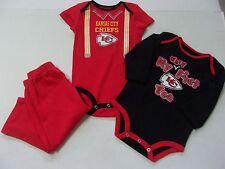 NWT Boys $38 Kansas City Chiefs Adorable 3 Piece Bodysuit Set Tops/Pants 18 Mos