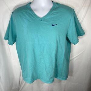Nike Women's XL V-Neck Short Sleeve Athletic Cut T Shirt Sky Blue Athleisure