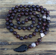 Mens Unisex Necklace Pendant Hematite Lapis Stone Bead with Angel Wing Pendant