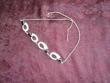 Vintage Ivar Holth Norway 925S Gilt Sterling Enamel  Black & White Necklace Holt