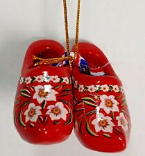 Red FLORAL FLOWERS Wooden Shoes Dutch Holland  Christmas Ornament New