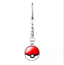 NEW Gorgeous Silver Plated Round Pokeball Pokemon Double Sided Cabochon Keyring