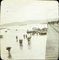 MAROC Tanger Débarquement Tanger 1904, Photo Stereo Grande Plaque Verre