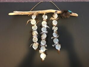 Handmade Native American Wind Chime With Turquoise Crystal, shells and fur