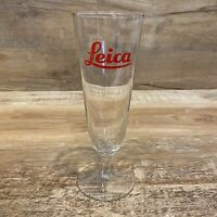 "Vintage Leica Camera Branded Advertising Fluted Pilsner Beer Glass - 8 1/4"" Tall"