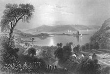 Ireland, LARNE ANTRIM SEAPORT HARBOR CASTLE ~ 1839 Landscape Art Print Engraving