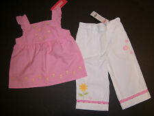 NWT Gymboree Sunflower Fields 2T White Ric Rac Ladybug Flower Pants & Pink Top