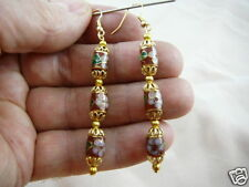(EE604-100) Brown pink flower 3 CLOISONNE beads dangle drum EARRINGS