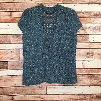 Women's Jones New York Short Sleeve Shrug/Sweater, Blue, Size Large