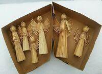 "Straw reed vintage ANGELS 4""-7"" Handpainted Folk Art Wooden straw Christmas Set"