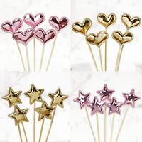 10Pcs/lot PU Glitter Cake Topper Star heart Birthday Party Wedding Cupcake Decor