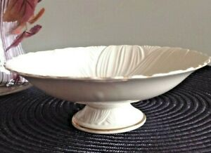 VTG.TOYO Signature Collection Pedestal Accent Dish Japan Ivory- Gold Accents