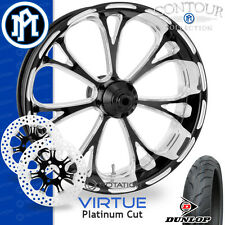 Performance Machine Virtue Platinum Cut Wheel Front Package Harley Touring 21""