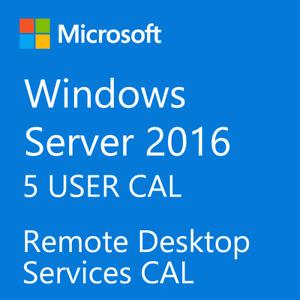 Microsoft Windows Server 2016 Remote Desktop Services RDS 5 USER CAL License