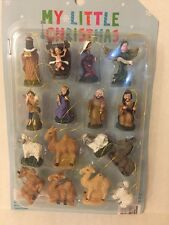 Set of 16 Christmas Holiday Miniature Mini Nativity Religious Ornaments
