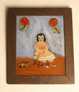 Antique Reverse Glass Painting Folk Art Girl and her toy