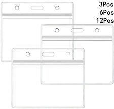 Transparent Plastic Id Badge Card Plastics Pocket Wallet Holder Pouchs 98x86mm