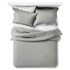 Fieldcrest King Washed Linen Comforter Sham Set Gray grey New Molina Collection