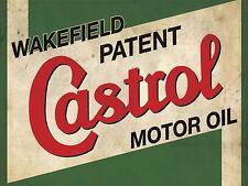 CASTROL OLIO MOTORE retrò vintage metallo segno GARAGE: man-cave REGALO IDEALE segno metallo