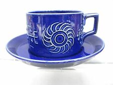 A blue Totem tea cup & saucer Portmeirion designed by Susan William Ellis 1960s
