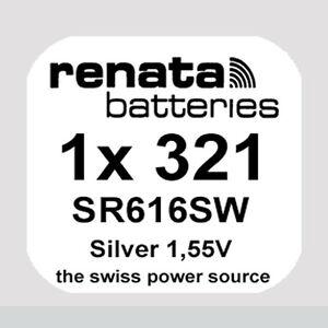 1x Renata 321 Uhren-Batterie Knopfzelle SR616SW 1,55V Silberoxid Neu