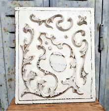 Shabby painting scroll leaves carving panel Vintage french architectural salvage