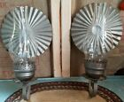 Gorgeous Pair Vintage Tin Wall Sconce Candle Holder Medieval Gothic 14 T Patina
