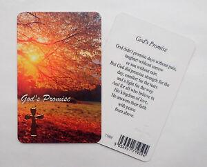 God's Promise Prayer Card with Gold Cross Motif Religious Keepsake  Wallet Size