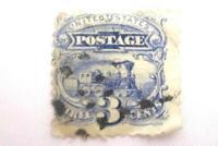 1869 Railways Of America 3 Cent United States Postage Stamp Scott 114 Used
