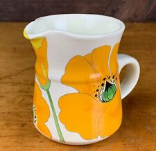 Never Used Vintage Metlox Poppytrail Wild Poppy Creamer Yellow Orange Flowers
