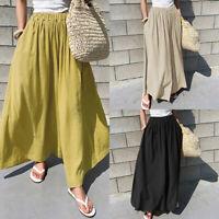 ZANZEA Femme Coton Taille elastique Poche Loisir Ample Jambe Large Pantalon Plus