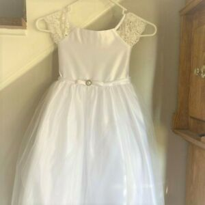 First 1st Communion,miniature bride,Flower girl dress w/veil & gloves. Size 7/8