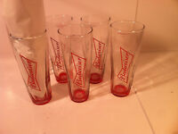BUDWEISER BEER GLASSES--SET OF 6--AB--ANHEUSER BUSCH----EUC---SHIPS FREE