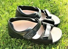 Women's Propet Sandals 11 Ex WIDE  Black 2 Strap Leather W/Orthodic Insoles
