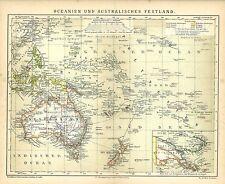 Alte Landkarte 1885: Oceanien und Australisches Festland. Australien (B13)