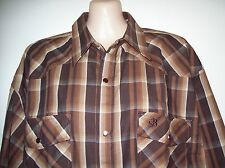 MENS BRIGALOW WESTERN STYLE LS SHIRT 100% COTTON BROWN CHECK SIZES M & L A/V