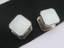 Antique Art Deco era B&W Sterling Silver Guilloche Enamel Cufflinks Snap Buttons