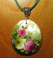 PENDANT Zhostovo PINK & YELLOW FLOWERS Genuine RUSSIAN Hand painted Green SHELL