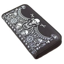 NWT Loungefly Skull Bandana Faux Black Leather Zip-Around Accordion Wallet