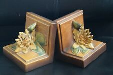 Vintage Roseville USA Brown Yellow Water Lily Bookends #12 Pair Book ends