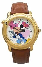Lorus Musical Disney Mickey Mouse Watch With Gold Color Case& Brown Leather Band