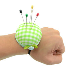 Plaid grids needle sewing pin cushion wrist strap tool button storage holde_A7H
