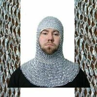 Medieval Chain mail 9 mm Round Riveted Coif / Hood Aluminum Chainmail